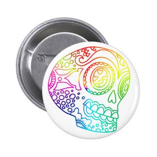 El arco iris alinea el cráneo del azúcar en amor pin redondo de 2 pulgadas