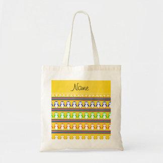 El arco iris amarillo conocido personalizado raya bolsa tela barata