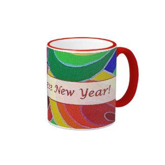 El arco iris chino del Año Nuevo colorea la taza