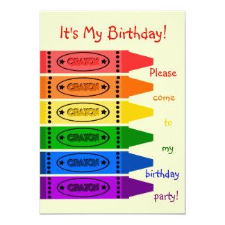 """El arco iris colorea a la fiesta de cumpleaños de invitación 5"""" x 7"""""""