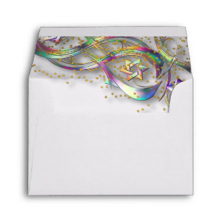 El arco iris colorea confeti del oro del Flourish Sobres