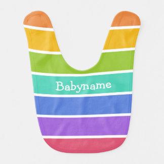El arco iris colorea el babero de encargo del bebé