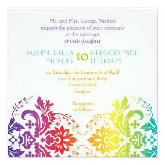 El arco iris colorea el boda del damasco invitación personalizada