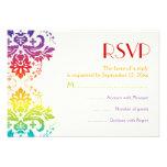 El arco iris colorea el damasco que casa RSVP Invitacion Personal