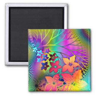 El arco iris colorea el estampado de flores imán cuadrado