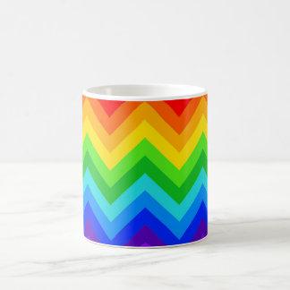 El arco iris colorea el modelo de zigzag grande de tazas de café