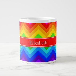 El arco iris colorea el monograma conocido rojo tazas extra grande