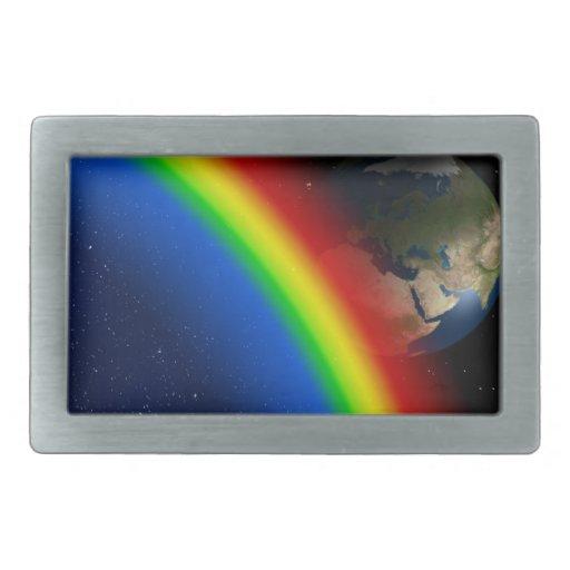 El arco iris colorea el mundo del espacio de las e hebilla cinturon rectangular