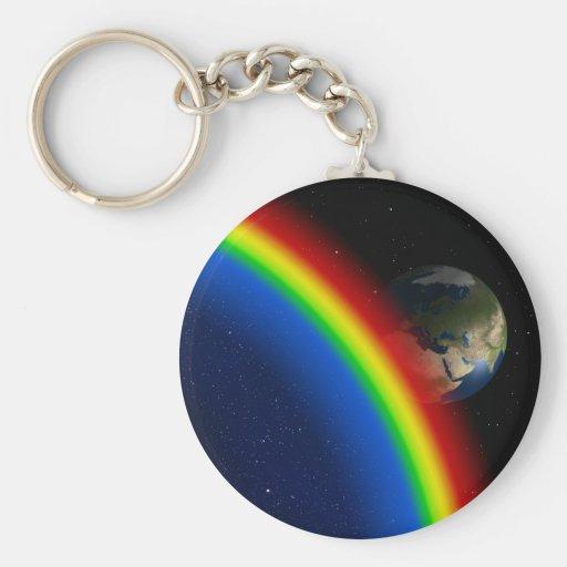 El arco iris colorea el mundo del espacio de las e llavero redondo tipo pin