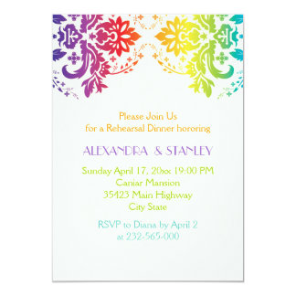 El arco iris colorea la cena del ensayo del boda invitación