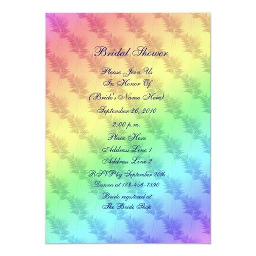 El arco iris colorea la invitación nupcial de la