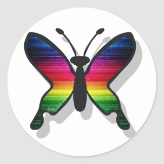 El arco iris colorea la mariposa pegatina redonda