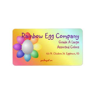 El arco iris colorido Eggs la etiqueta del cartón  Etiquetas De Dirección