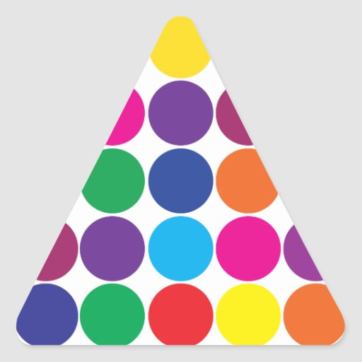 El arco iris colorido intrépido brillante circunda pegatina triangular