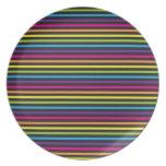 El arco iris colorido raya los regalos del modelo  plato