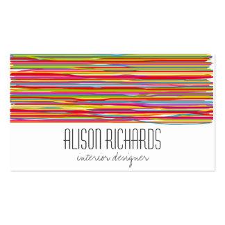El arco iris colorido simple raya diseño interior tarjetas de visita