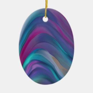 El arco iris congriega la línea de productos adorno navideño ovalado de cerámica