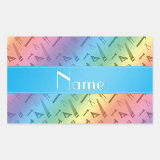 El arco iris conocido personalizado equipa el mode rectangular pegatina