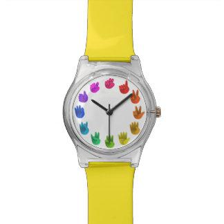 El arco iris da números del asl reloj de mano