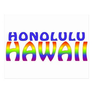 El arco iris de Honolulu Hawaii redacta la postal