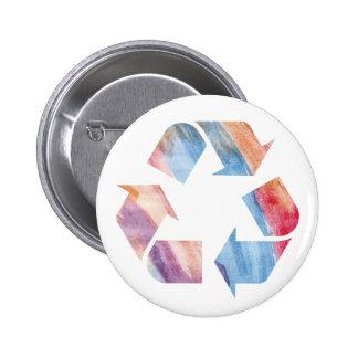 El arco iris de la acuarela recicla el botón ls pin redondo de 2 pulgadas