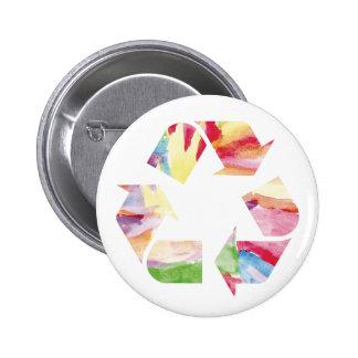 El arco iris de la acuarela recicla el botón rp pin redondo de 2 pulgadas