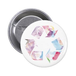 El arco iris de la acuarela recicla el SE del Pin Redondo De 2 Pulgadas