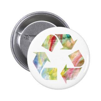 El arco iris de la acuarela recicla la P.M. del Pin Redondo De 2 Pulgadas