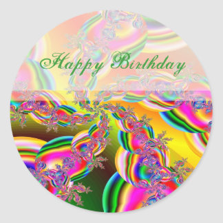El arco iris de la fantasía ata fractal pegatina redonda