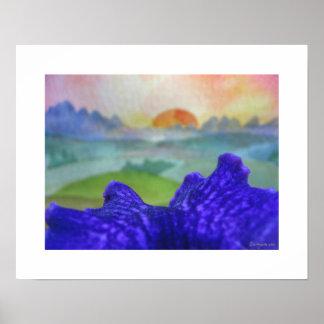 El arco iris de la puesta del sol representa el po poster