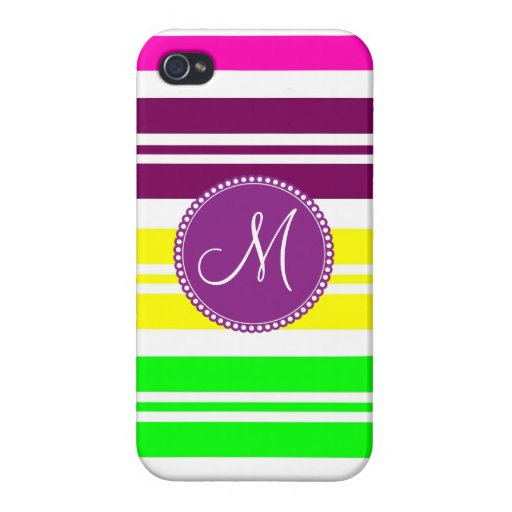 El arco iris de neón colorido del monograma raya e iPhone 4/4S carcasa