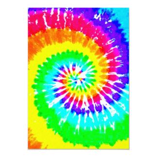 """El arco iris de neón del remolino del arco iris invitación 5"""" x 7"""""""