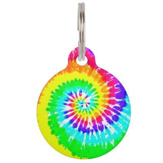 El arco iris de neón del remolino del arco iris placa para mascotas