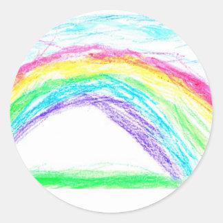 El arco iris de Steven Pegatina Redonda