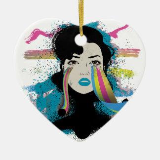 El arco iris de Wellcoda rasga a señora Colour Adorno Navideño De Cerámica En Forma De Corazón