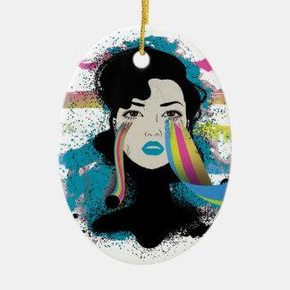 El arco iris de Wellcoda rasga a señora Colour Adorno Navideño Ovalado De Cerámica
