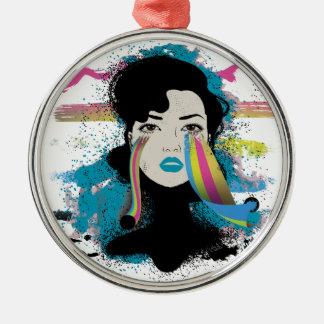 El arco iris de Wellcoda rasga a señora Colour Adorno Navideño Redondo De Metal