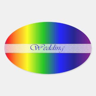 El arco iris del boda colorea al pegatina oval