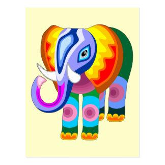 El arco iris del elefante colorea las postales del