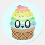 el arco iris del helado del kawaii asperja pegatinas