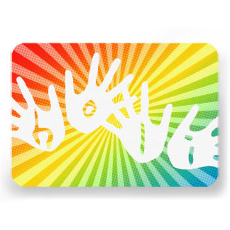 el arco iris del holi irradia las manos comunicados