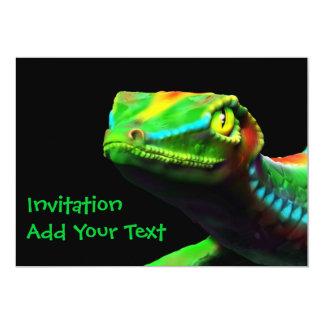 """El arco iris del lagarto del Gecko colorea Invitación 5"""" X 7"""""""