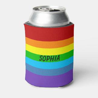 El arco iris del orgullo gay puede o el nombre del enfriador de latas