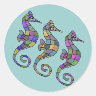 El arco iris del Seahorse Pegatina Redonda