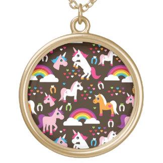 el arco iris del unicornio embroma el caballo del  colgante redondo