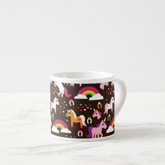 el arco iris del unicornio embroma el caballo del taza de espresso