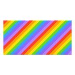 El arco iris diagonal raya el modelo tarjeta fotografica personalizada