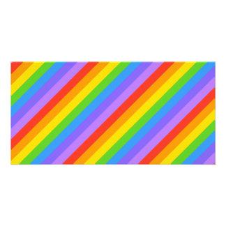 El arco iris diagonal raya el modelo tarjetas personales