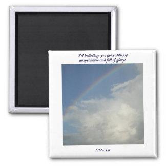 ¡El arco iris, dios está para nosotros! Imán Cuadrado