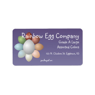 El arco iris Eggs la etiqueta del cartón del huevo Etiqueta De Dirección